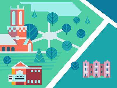 University of Richmond color vector flat illustration college cartography map virginia richmond university