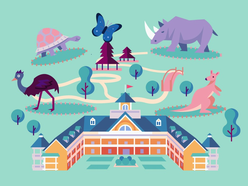 Zoo thepointstudio design color vector illustration