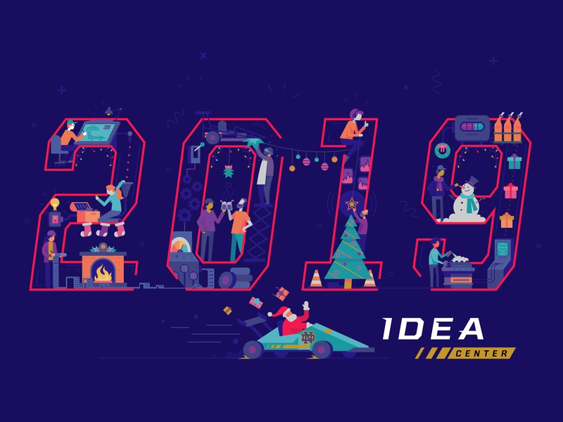 Holidaycard2 holiday card newyear 2019 productinnovation notredame idea flat vector illustration christmas