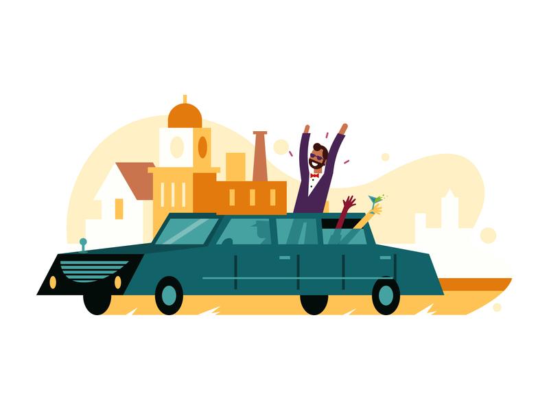 Luxury Limos icon spot limousine color design flat vector illustration magazine richmond transportation limo