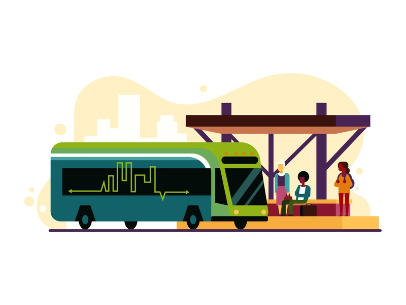 Ride the Pulse vector travel transportation magazine editorial illustration design richmond city pulse bus