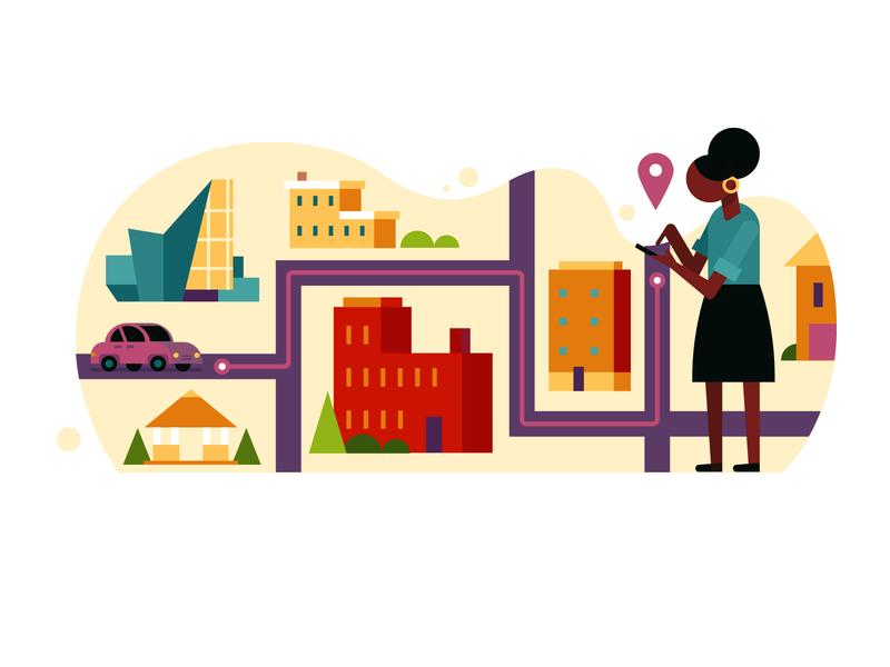 Getting Around Town car flat richmond lyft uber transportation travel design icon color vector illustration