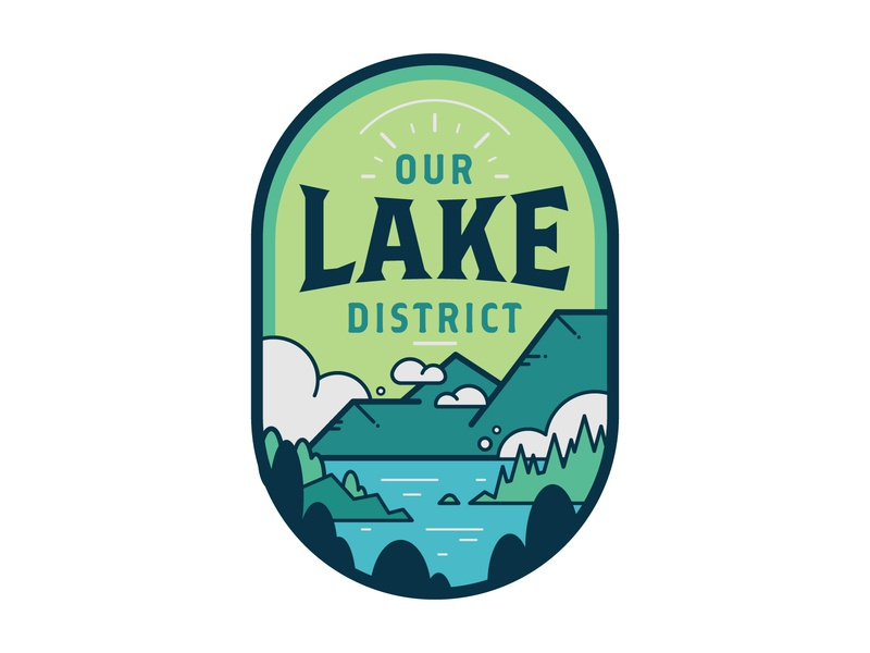 Lake District Badge vector design badge design flat illustration nature park uk district lake icon logo badge