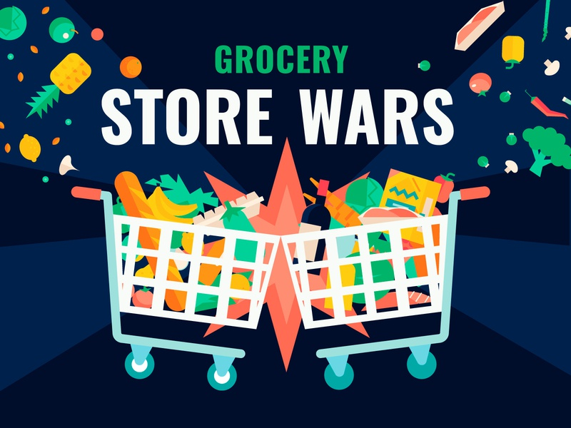 Grocery Wars product store food color flat vector dougfuchs pointstudio banner illustration infographic wars grocery