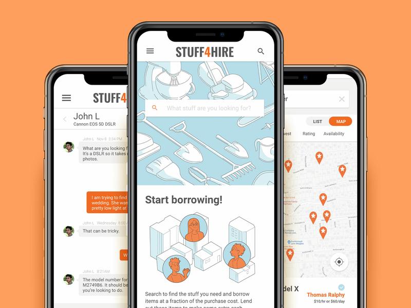 Stuff 4 Hire development item artdirection lend borrow illustration experience design ux mockup app s4h stuff4hire platform