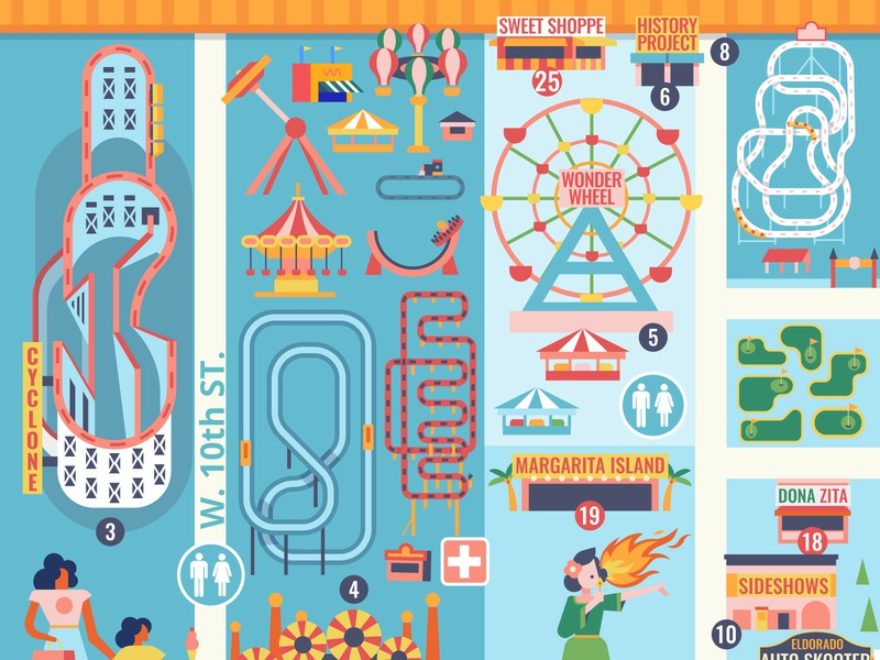 The Very First Roller Coaster design amusement park newyork vector map boardwalk beach rollercoaster amusement lunapark coneyisland illustration