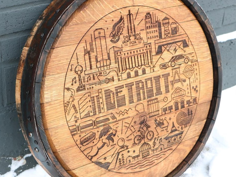 LaserCut Barrels! city motor barrel upcycle lasercut michigan detroit design icon vector illustration