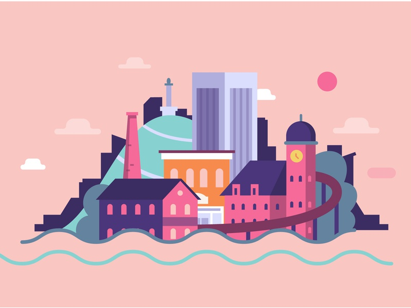 City in the Sun color illustration vector motiongraphic animation video intro coffee ironclad virginia richmond