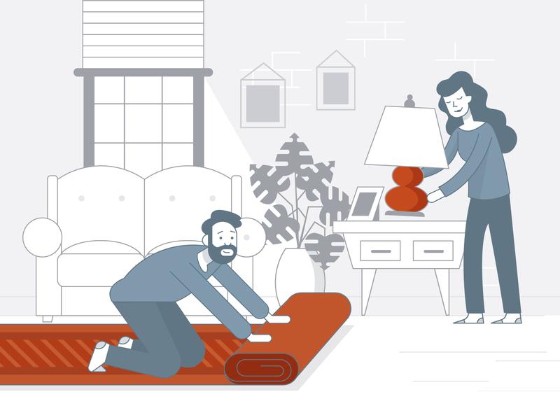 Transform your Space eyely transform light guide lighting rug furniture room design vector illustration