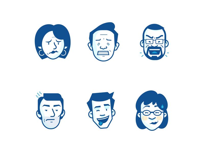 Keeping it Expressive turntrading character emotion face branding design vector illustration