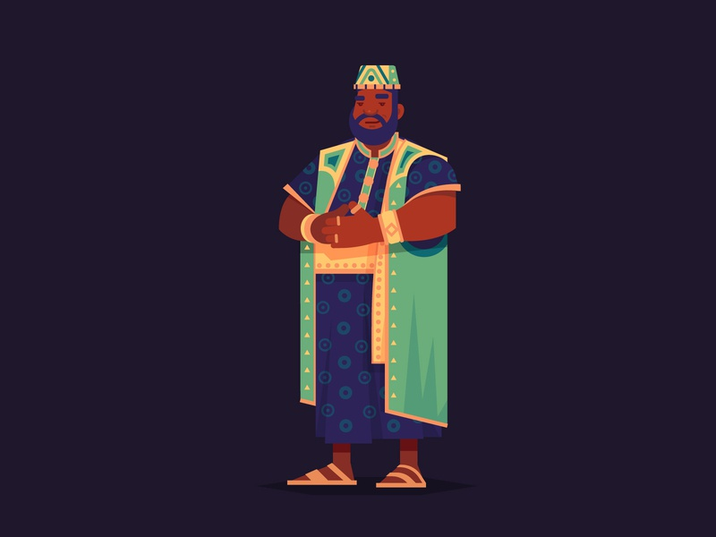 Mansa Musa gold history mali mansamusa leader onemoreturn civilization game design color vector illustration