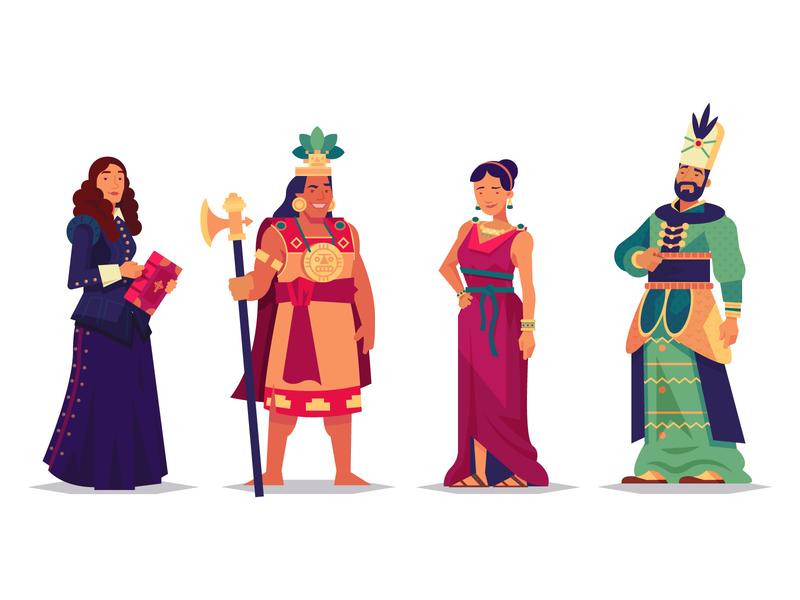 Choose your Leader character design color vector illustration leaders expansion videogame civilization ottoman sweden pheonicia inca history