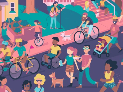 Open Streets Pittsburgh fun street festival dance event poster color vector illustration design bike pittsburgh openstreets