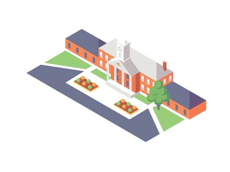 Iso Focus icon landscape architecture flat vector academy institute illustration map isometric