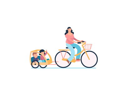 Biking in the Streets cute character flat motiongraphic animation bikepgh openstreets pittsburgh marketing bike vector branding illustration