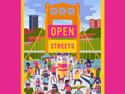 Open Streets Pittsburgh design vector color outdoor event festival bike openstreets pittsburgh poster branding illustration