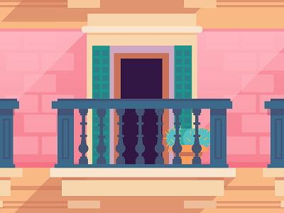 Big Fan of Balconies design gothic architecture balcony flat illustration color vector barcelona