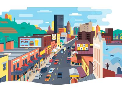 Outdoor Media wall color design advertisement media branding website vector illustration pittsburgh