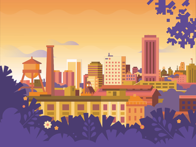 Richmond View flat sunset city virginia richmond vector color motiongraphic animation illustration