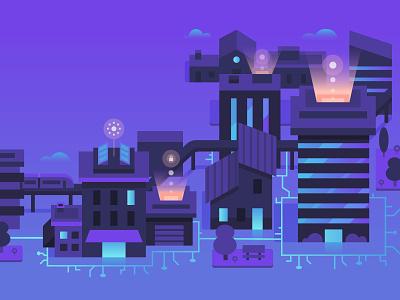Smart Buildings color branding vector flat illustration smart technology building automation data