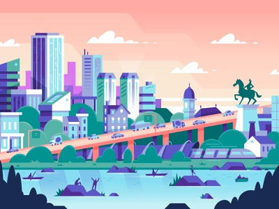 Tomorrow vector cloud monument river city technology diversity illustration editorial magazine richmond