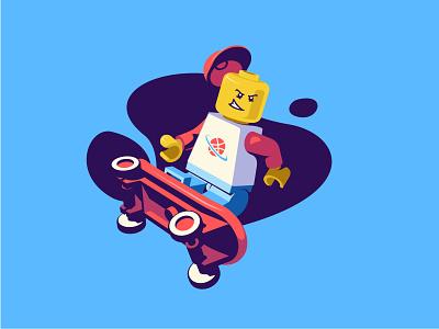 Lego skater easymetry madrabbit character action dribbble vector illustration skateboard skater moi3d 3d lego