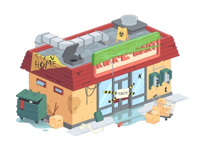 The Simpsons Kwik-E-Mart during a coronavirus pandemic. madrabbit color city design vector illustration stayhome stay home market shop house building 3d 2d isometry isometric pandemic coronavirus simpsons