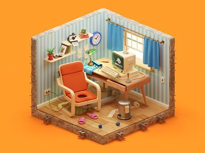 The perfect designer's workspace illustration design 3d blender room designer soft model modeling madrabbit isometric retro pc interior challenge render isometry house chair table