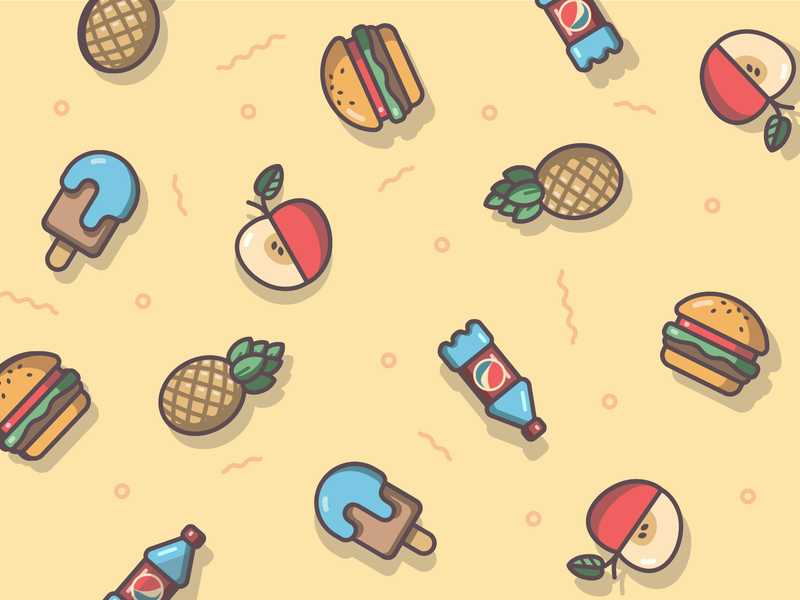 Food pattern meal tasty icon set vector icon design flat pattern pineapple bottle icecream burger apple food illustration