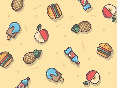 Food pattern meal tasty icon set vector icon design flat pattern pineapple bottle icecream burger apple food illustration