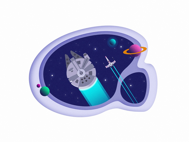 Falcon and X-Wing travelling space spaceship minimal flat art millenium falcon x-wing star vector artwork vector illustration space star wars