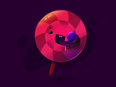 Lollipop 2d fun cute fun funny icon vector illustrator round tasty candy artwork face color sweet dribbble cute lollipop illustration