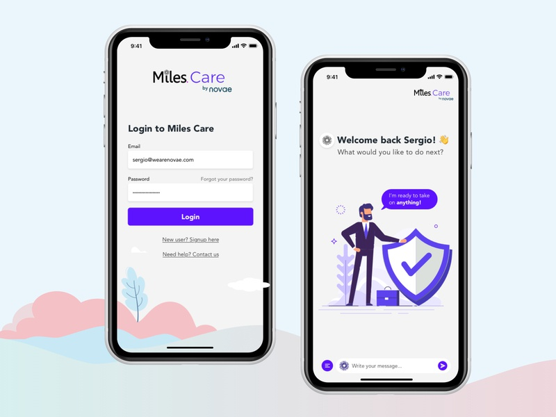 MIles Care login illustration chatbot insurance insurtech mobile design ui ux