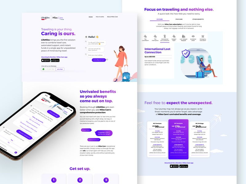 Daily UI 003   Landing Page insurance mobile illustration chatbot insurtech bank app website ux design ui