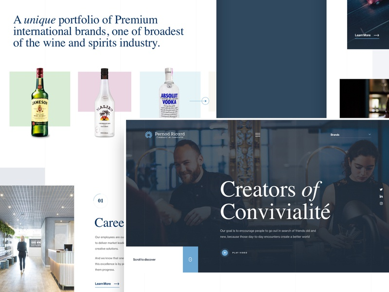 Pernod Ricard Concept hero image food and drink alcohol website design website design typography landing page home page drinks hero banner