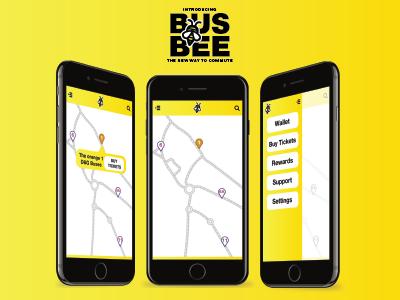 BusBee app mockup travel app design design app application
