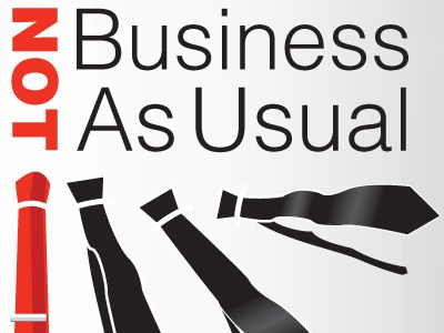 Not Business As Usual event theme logo ties illustrator
