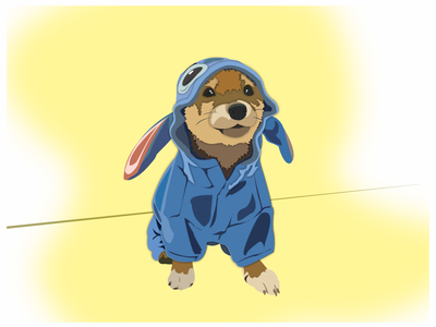 I saw a pup dressed as Stitch, had to illustrate it.