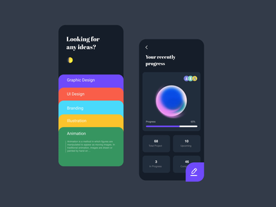 Inspiration discovery app mobile app daily 100 challenge daily ui creative colors colorful circle challenge darkmode after effects animation design ui app