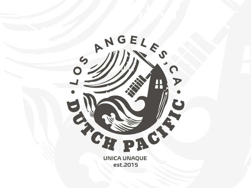 Dutch Pacific java acosta logo pacific dutch coast sea wave windmill seal badge wackytobbacky horticulture