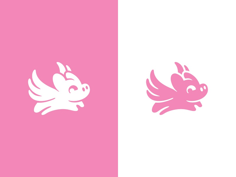 One Day! icon imagemark logo snout wings fly pig