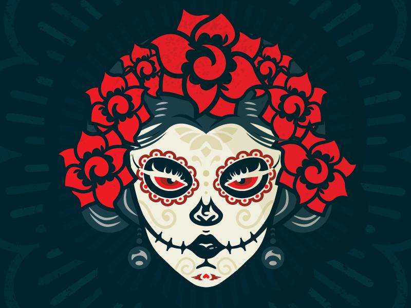 Day o' Dead rays ornate skull eye flower mexican mexico skeleton dead catrina