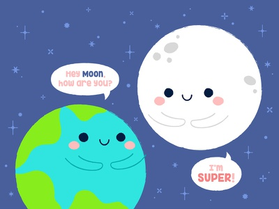 Supermoon sky space supermoon typography earth star pattern moon illustration cute