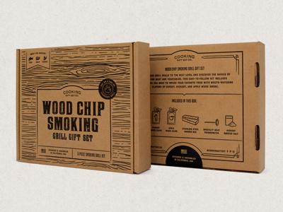 Cooking Gift Set Co Kit Packaging Design food cooking grill set wood chips kit design mailer box packaging design