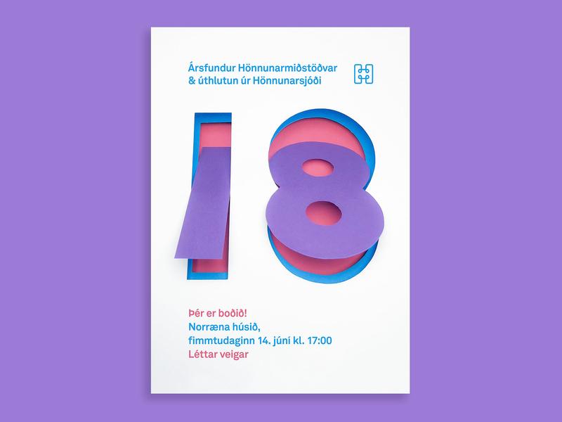 18 for Hönnunarmiðstöð invitation card paper paper art typography illustration typogaphy lettering artist lettering hand lettering design