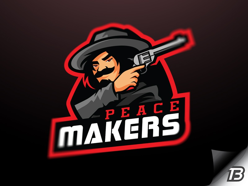 Peacemakers west wild illustration sport mascot logo outlaw cowboy colt