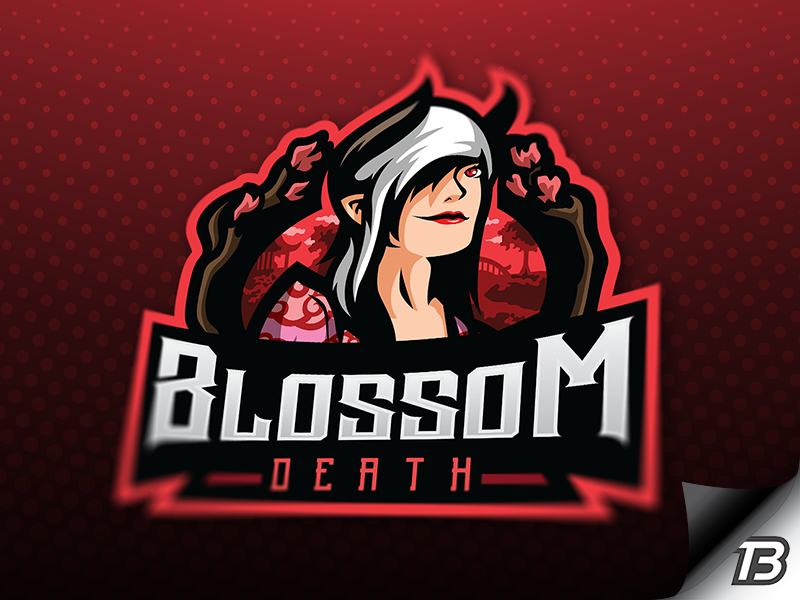 Blossom gaming illustration logo mascot red death asia orient blossom