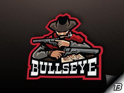 Bull'sEye outlaws cowboy illustration gaming mascot logo wildwest colt gunslinger gun