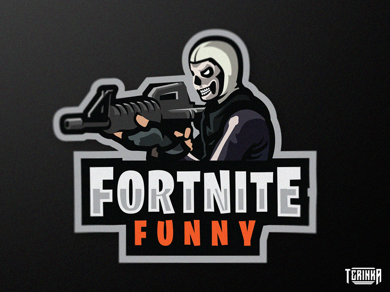 Fortnite Funny illustration logo gaming mascot skin skull gun fortnite