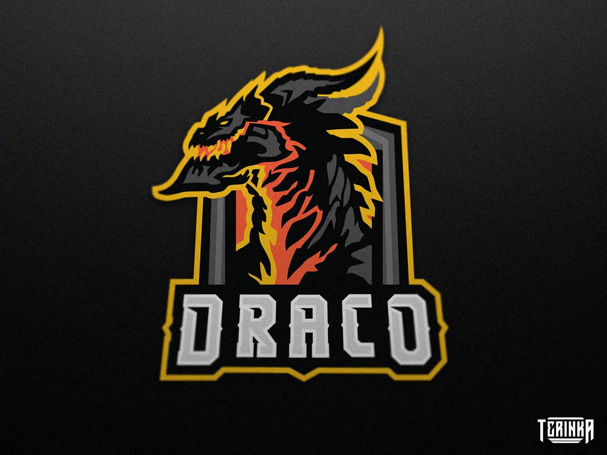 Draco gaming logo mascot lava dragon